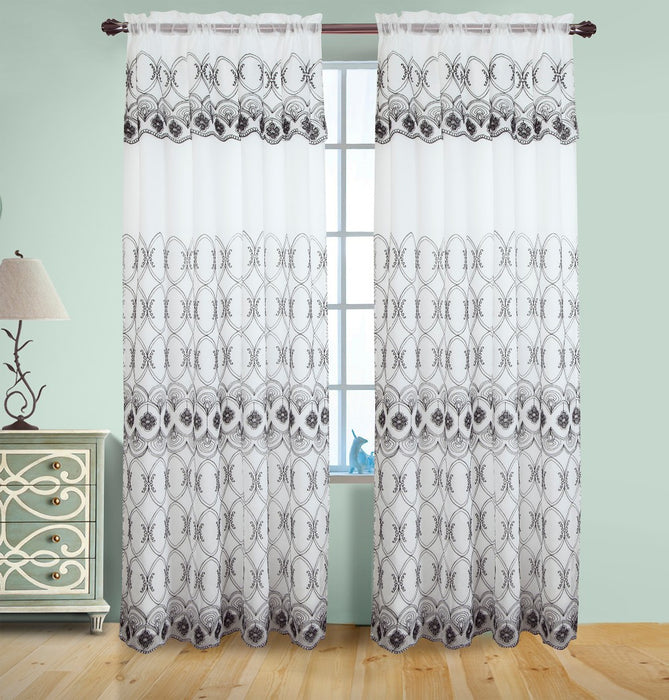 Josephine Embroidered Rod Pocket Panel with Attached Valance & Backing