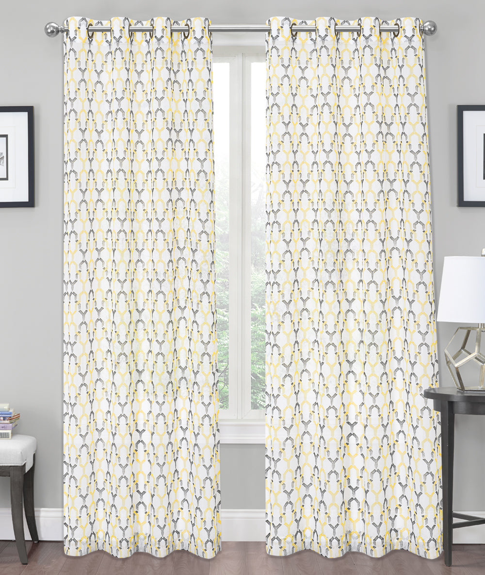 Charlton Printed Crushed Voile Grommet Window Panel