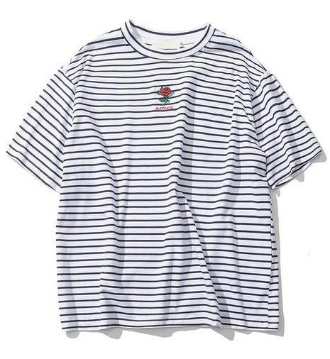 Striped Rose Tee