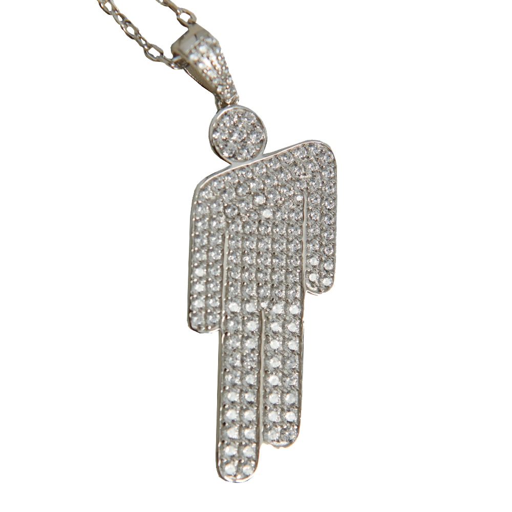 BLOHSH PENDANT JEWELED STERLING SILVER NECKLACE