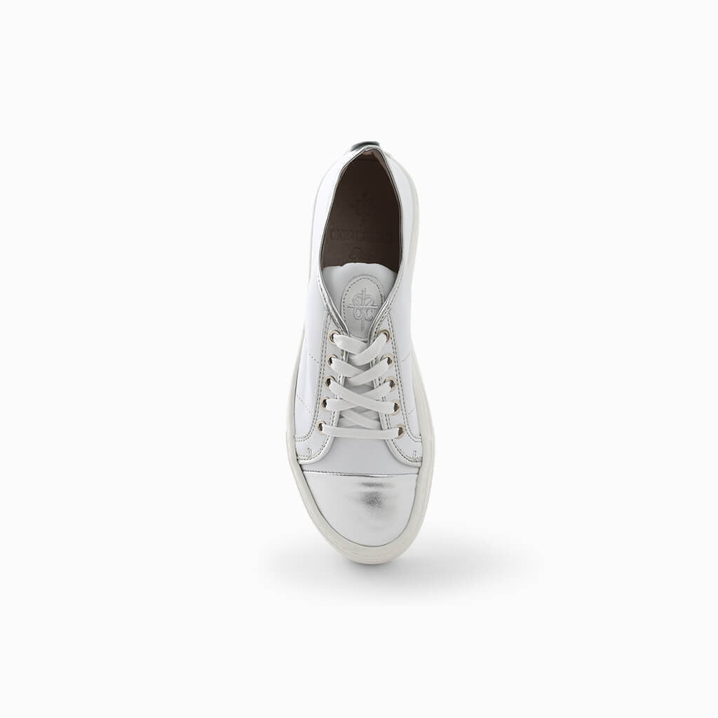 White Leather Compesated Shoes
