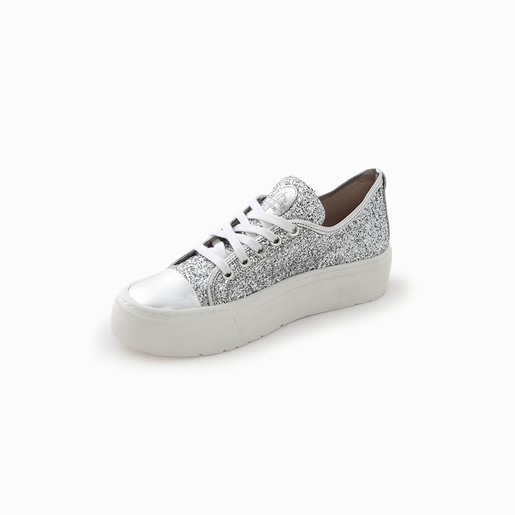 Silver Glitter Compensated Shoes