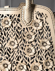 OC Flower Laser Cut Tote Cream