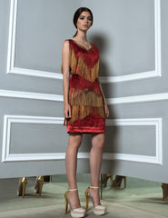 Red And Gold Fringes Short Dress