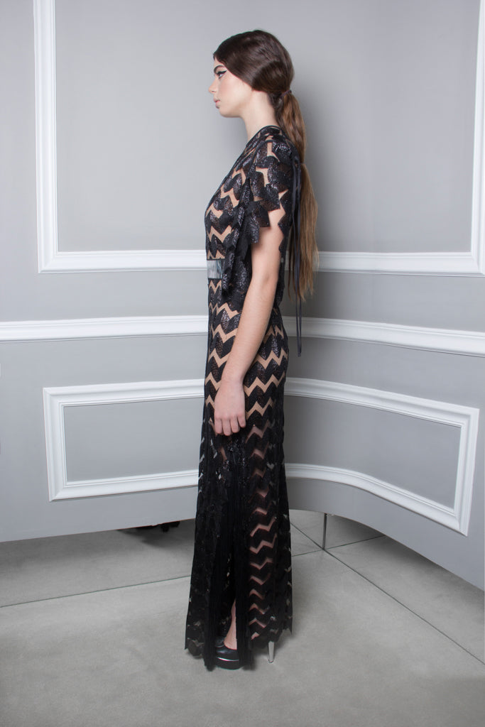 Zig Zag Dentelle Long Dress