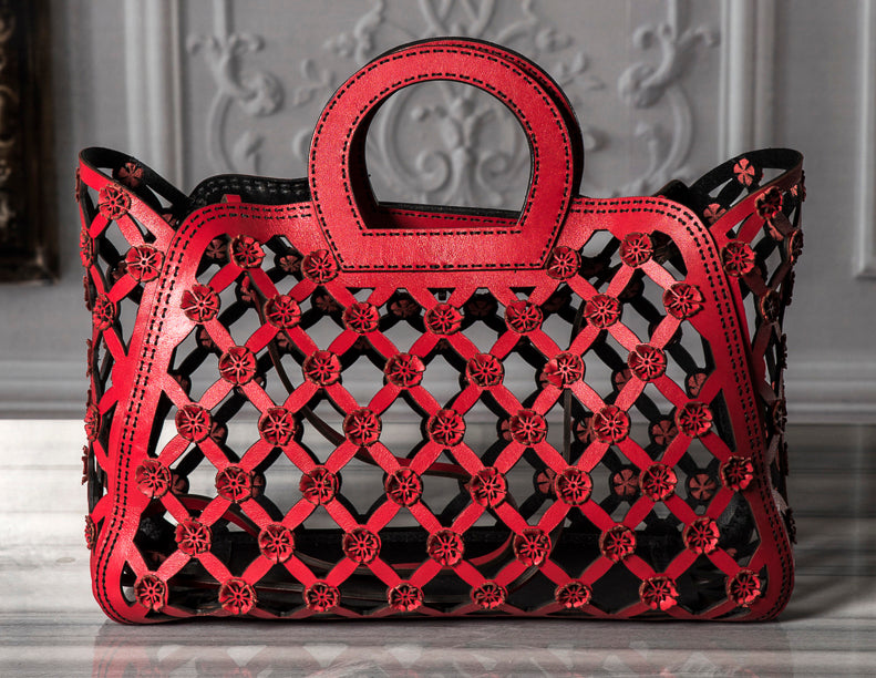 OC Flower Laser Cut Tote Red