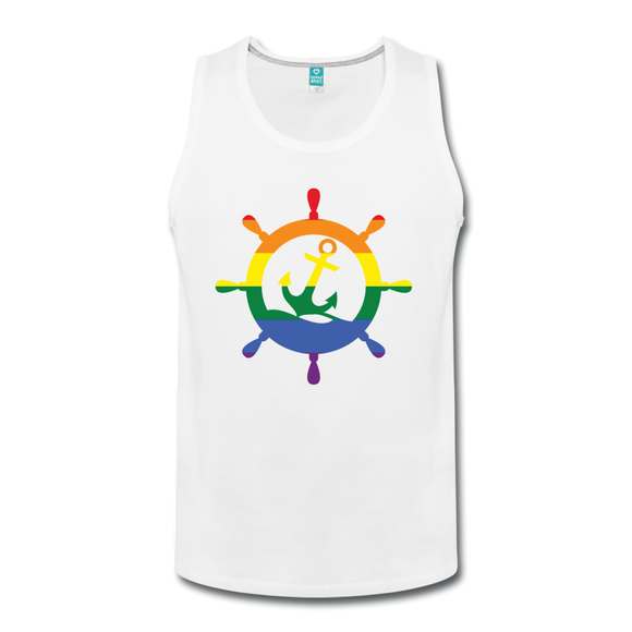 CruiseHabit LGBTQ+ Pride & Equality Shirt - Net Proceeds Go to Charity - Men's Tank - white