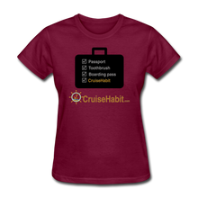 Load image into Gallery viewer, Cruise Checklist Shirt (Women's) - burgundy