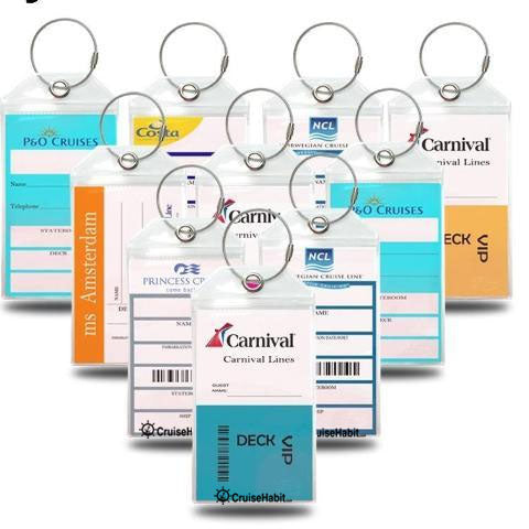 Luggage Tag Holders - Holds Tags for Carnival, Princess, Holland America, MSC, NCL, Cunard - Pack of 10