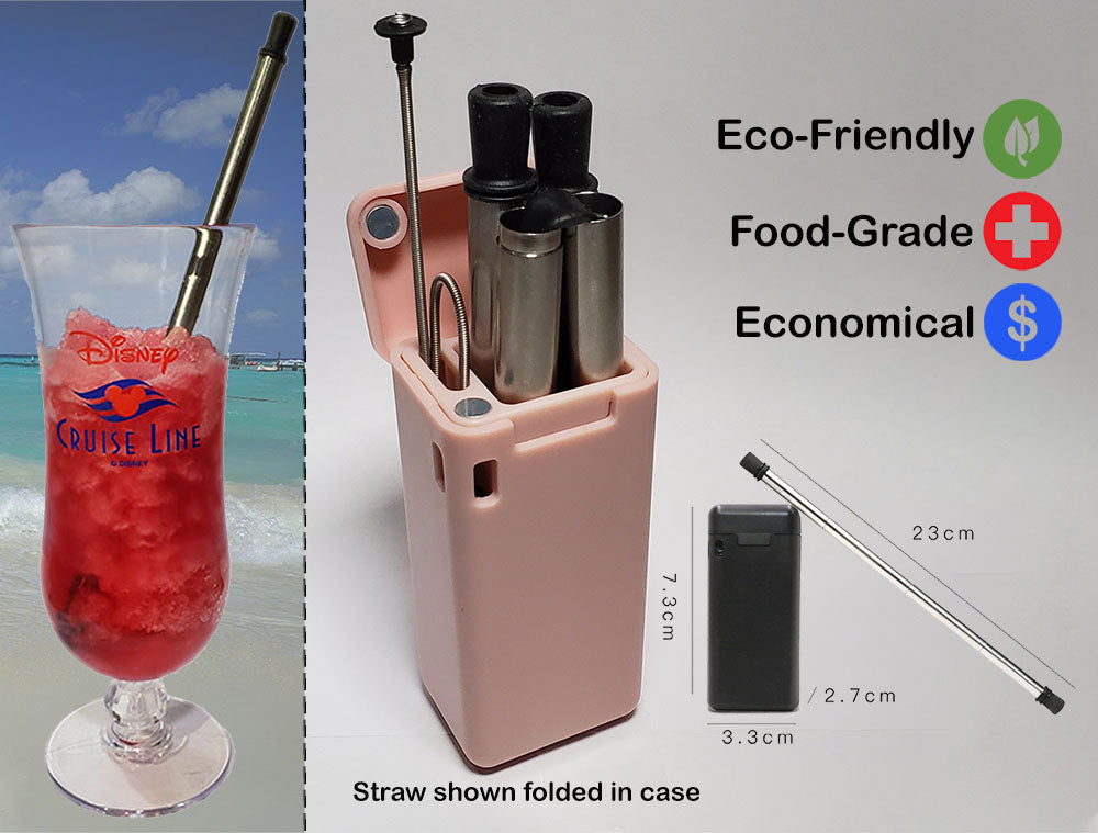 Foldable Metal Drinking Straw - Reusable & Eco-Friendly!