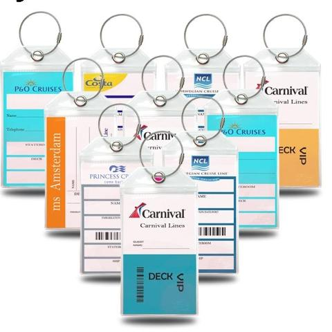 Luggage Tag Holders - Holds Tags for Carnival, Princess, Holland America, Cunard, NCL - CruisieHabit Cruise Accessories & Gear