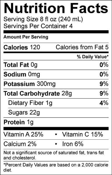 Nutrition Facts Red Jacket Orchards