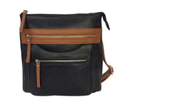 Roma 7016 2-Tone Messenger - Locking Concealed Carry Purse