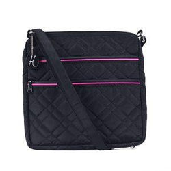 HidingHilda 3 Zip Messenger - Black w/Pink