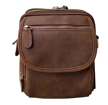 Roma 7015 Wax & Oiled Leather Concealment Crossbody Bag - Locking Concealed Carry Purse