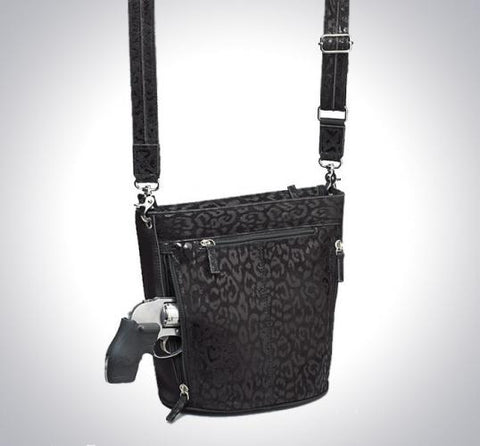 GTM 21 Debossed Concealed Carry Black Bucket Tote