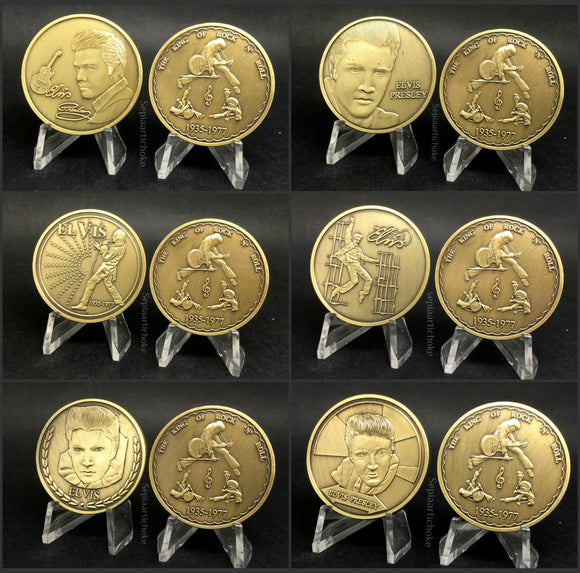 Set Of 6 Gold Plated Commemorative Elvis Presley Coins