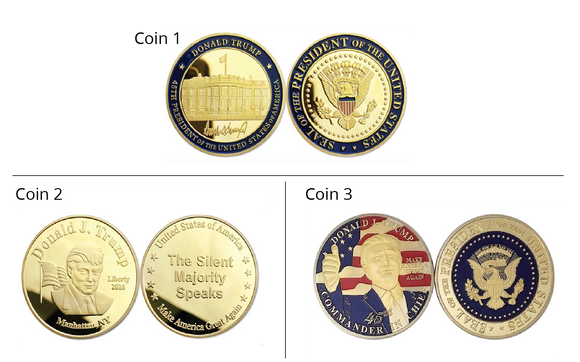 Set Of 3 Gold Commemorative Donald Trump Coins
