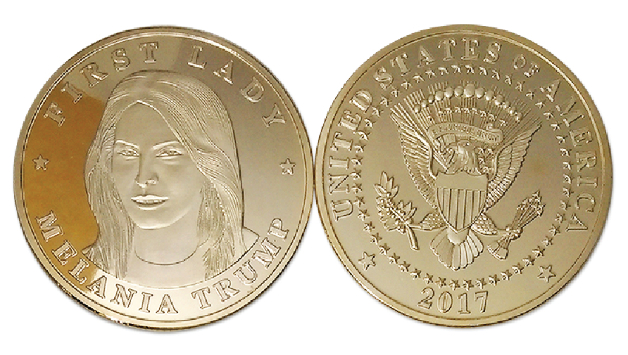 Commemorative Melania Trump & Mike Pence Gold Coin Set