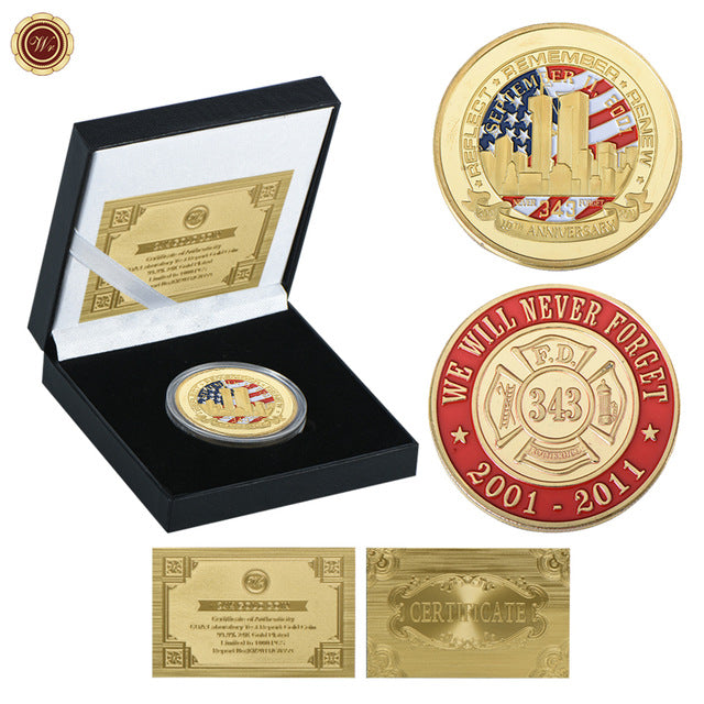 Commemorative Gold Plated 9/11 Tribute Coin