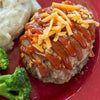 Mini BBQ Cheddar Meatloaves with Mashed Potatoes*  -  Beef