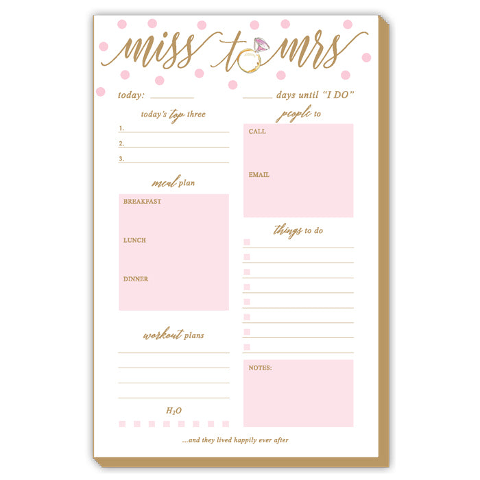 Miss To Mrs Pink Dots Luxe Large Pad