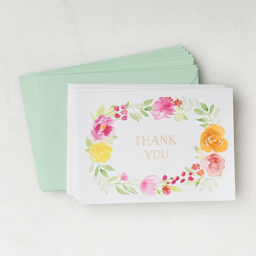 Paper Source Floral Wreath Thank You Card Set
