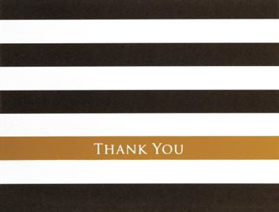 Black Gold Striped Thank You Notecard