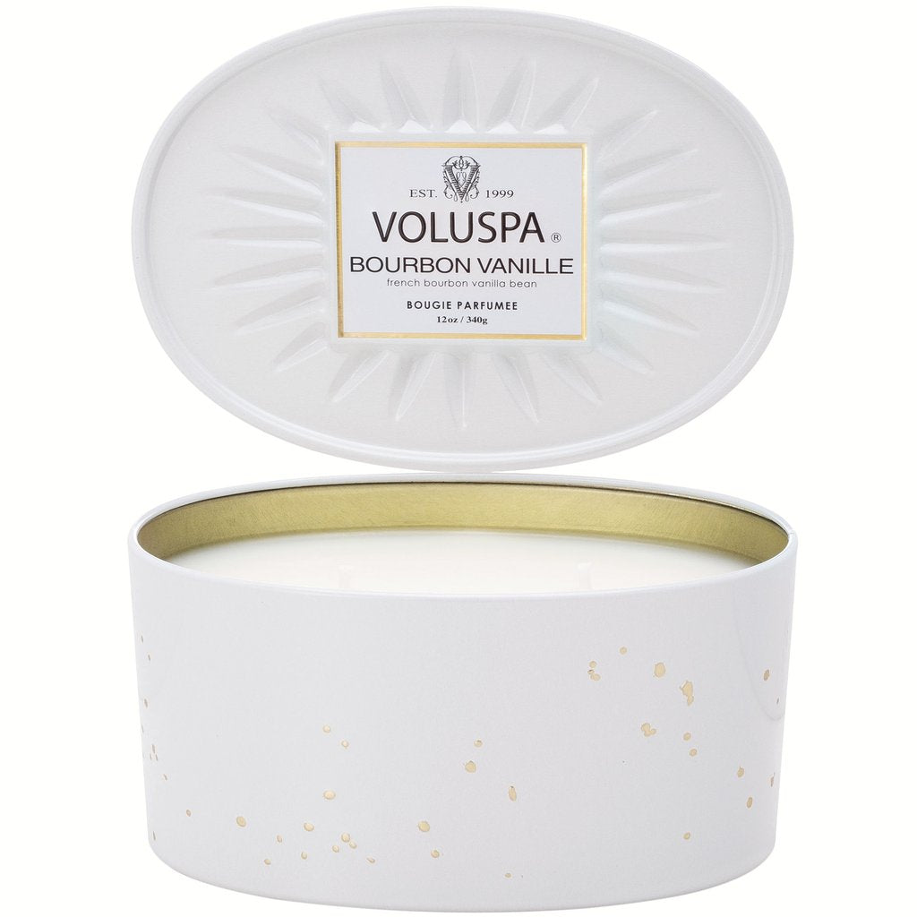 Voluspa Bourbon Vanille 2-Wick Oval Tin Candle