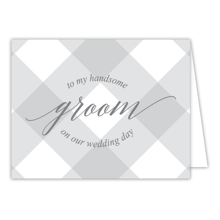 Grey Buffalo Check-Groom Greeting Card