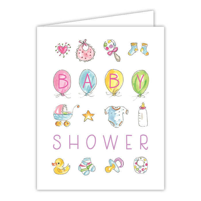 Baby Shower Baby Icons Greeting Card