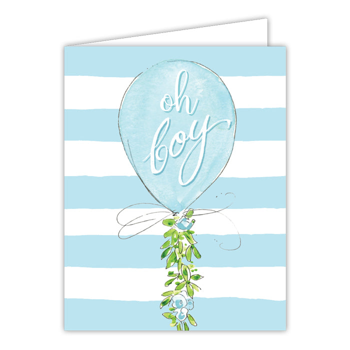 Oh Boy Blue Balloon Greeting Card