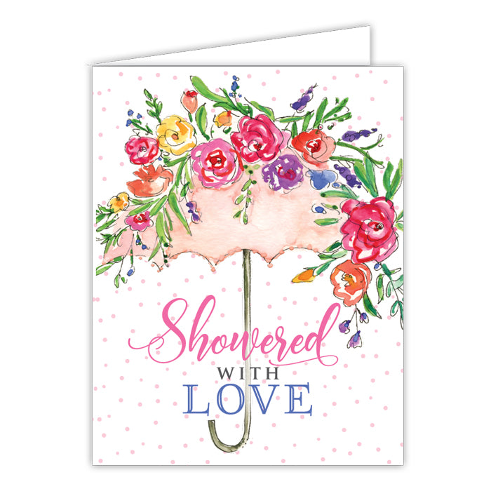 Showered With Love Floral Umbrella Greeting Card