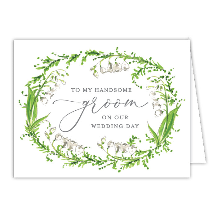 Wedding Greenery Wreath Groom Greeting Card