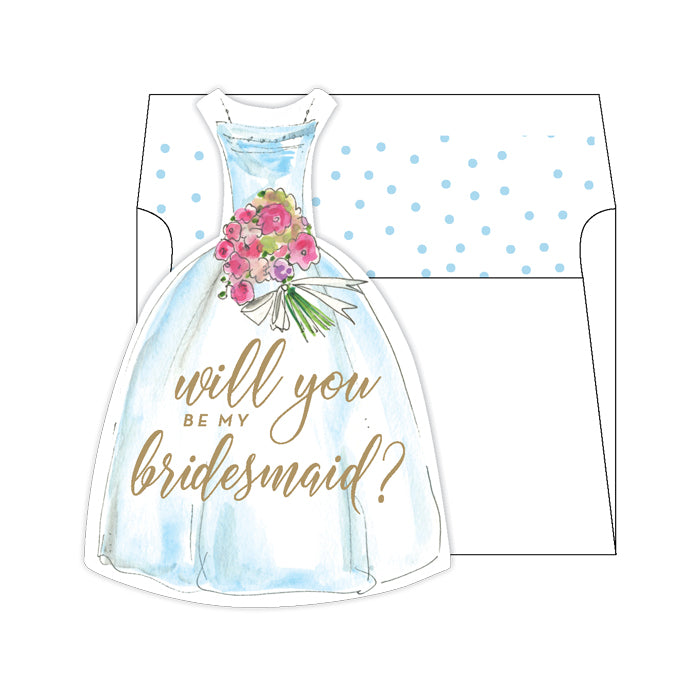Will You Be My Bridesmaid Blue Greeting Card