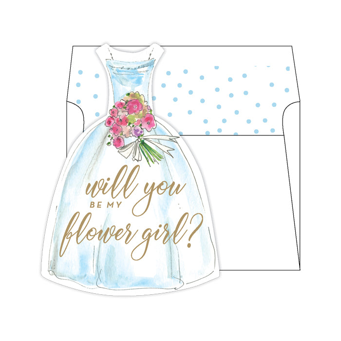 Will You Be My Flower Girl Blue Greeting Card