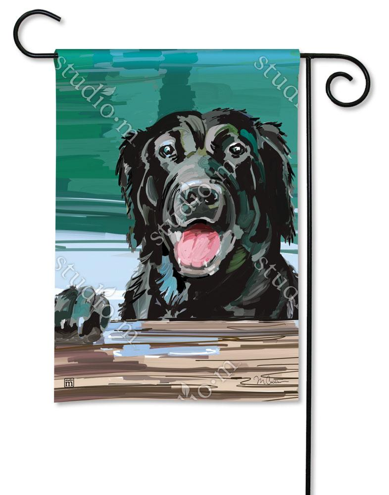 Black Lab Cooling Off Garden Flag
