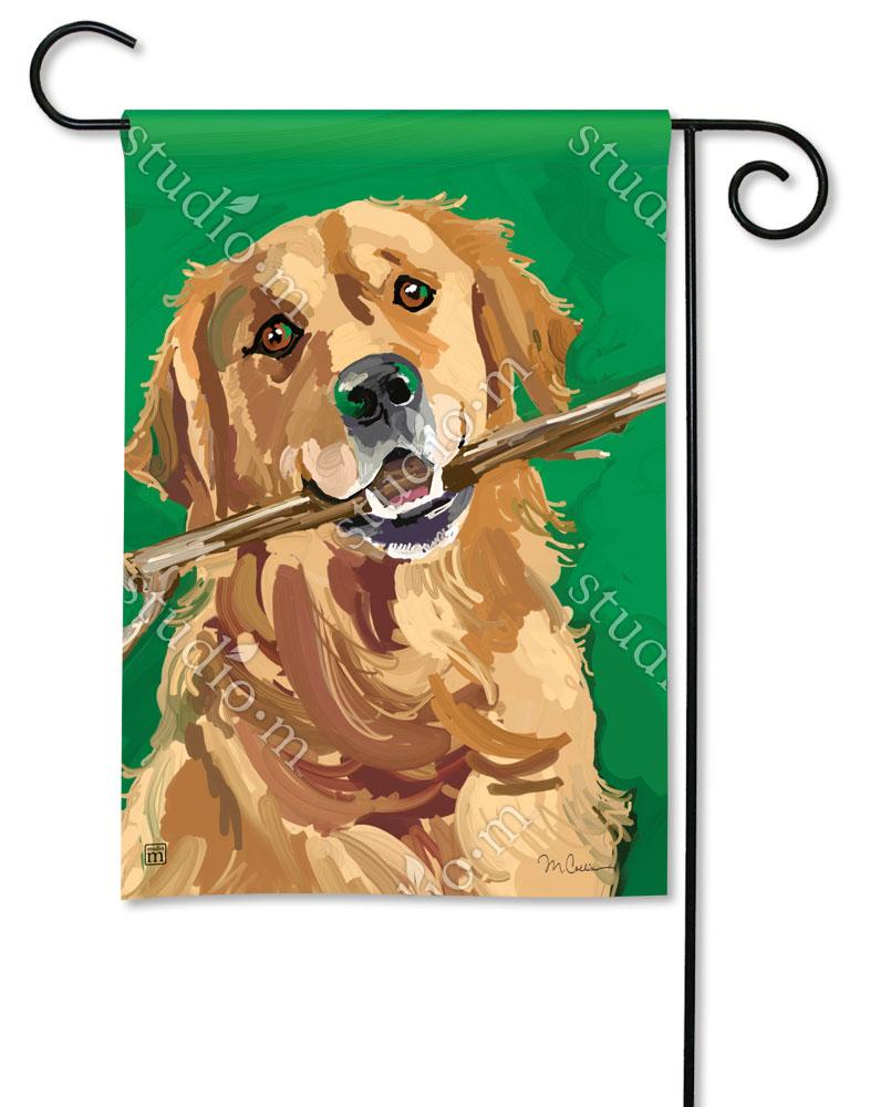 Golden Retriever with Stick Garden Flag