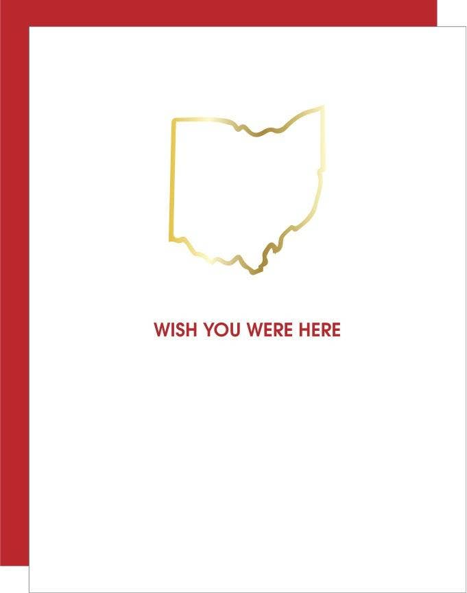 Wish You Were Here Ohio Paper Clip Greeting Card
