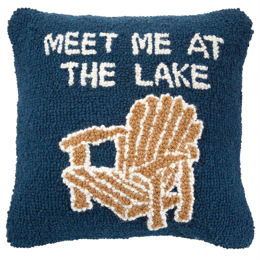 Lake Chairs Hooked Pillow