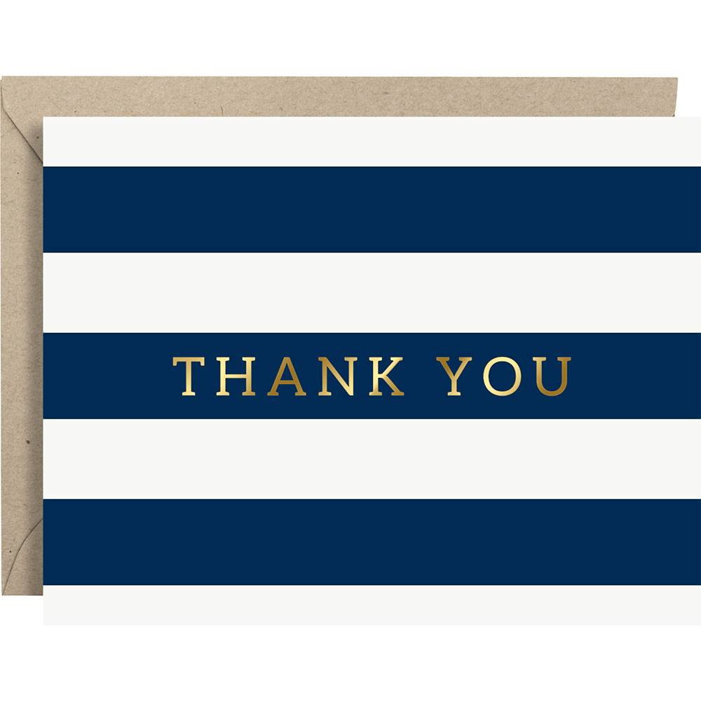 Paper Source Navy Stripe & Gold Foil Thank You Card Set