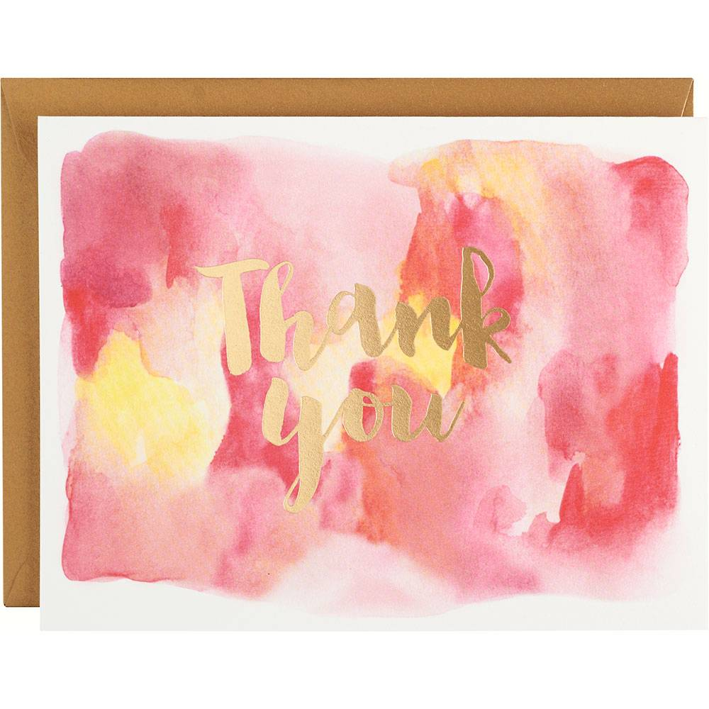 Paper Source Gold Foil Pink Watercolor Thank You Card Set