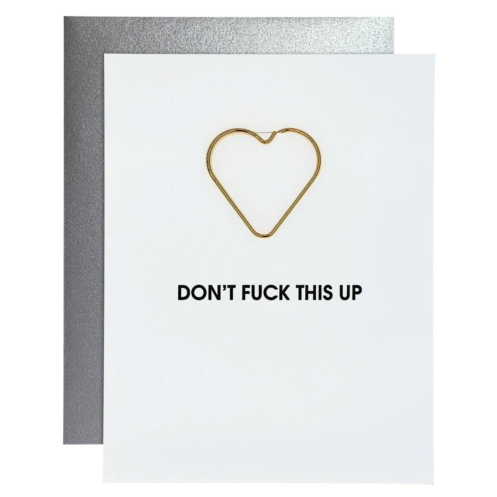 Don't Fuck This Up Paper Clip Letterpress Greeting Card
