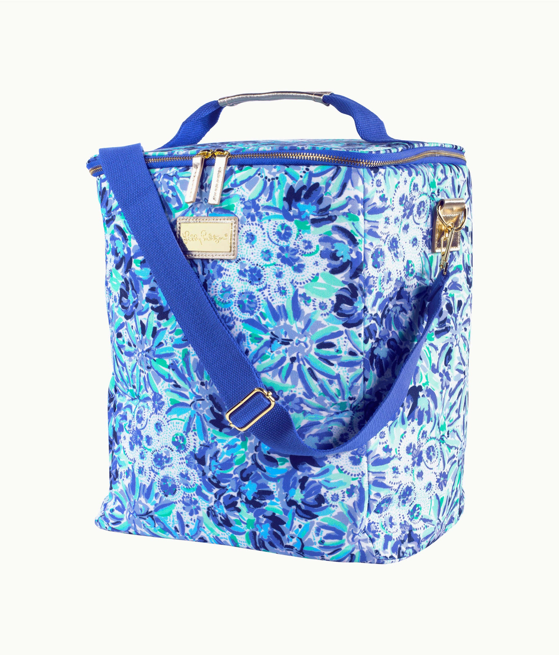 Lilly Pulitzer Wine Carrier, Iris Blue High Manetenance