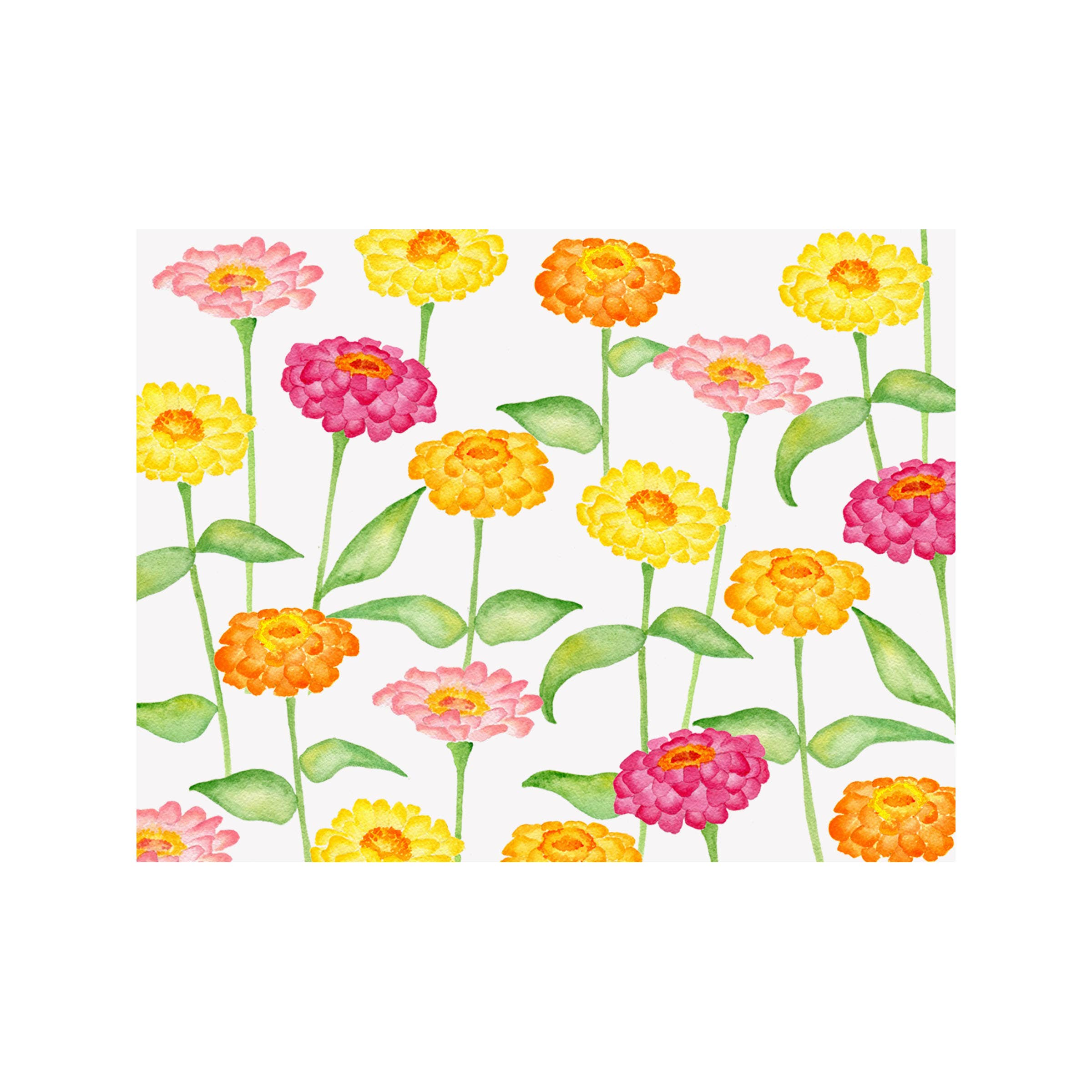 Zinnia Floral Folded Note Card