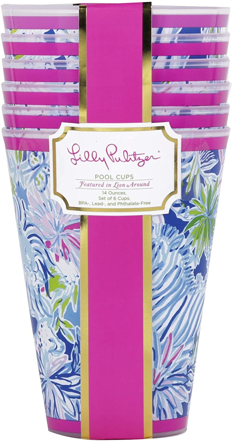 Lilly Pullitzer Pool Cups, Lion Around