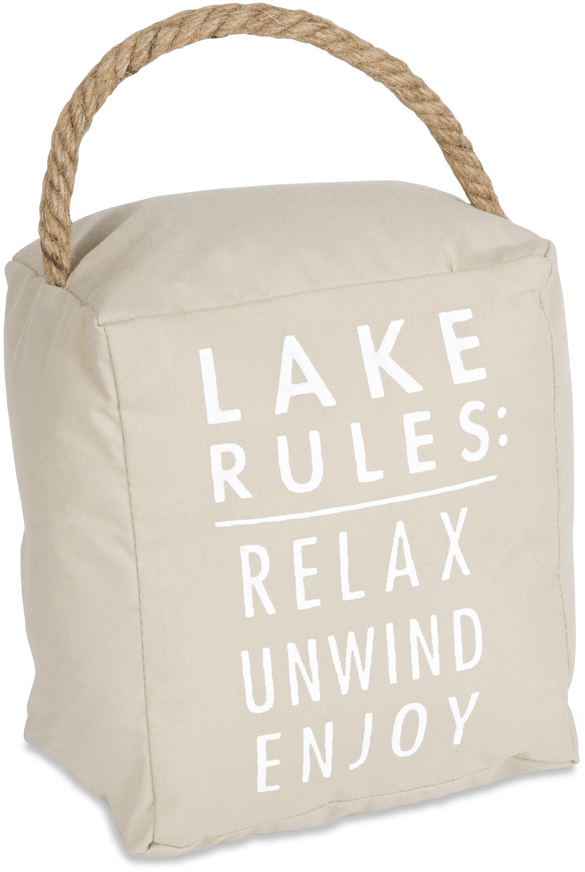 "Lake Rules - 5"" x 6"" Door Stopper"