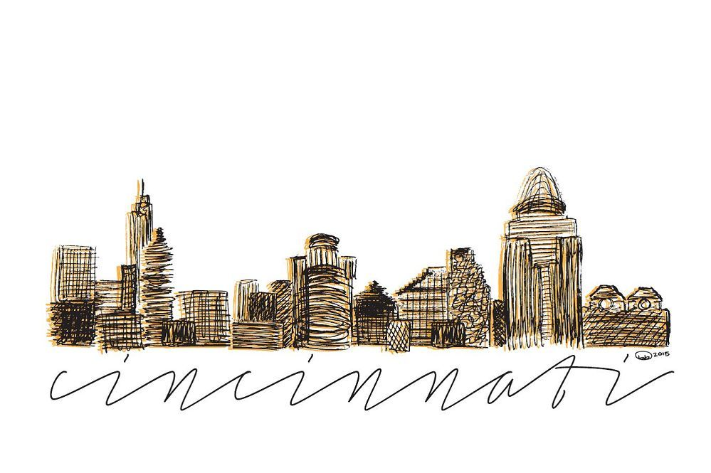 Cincinnati Sketch Postcard