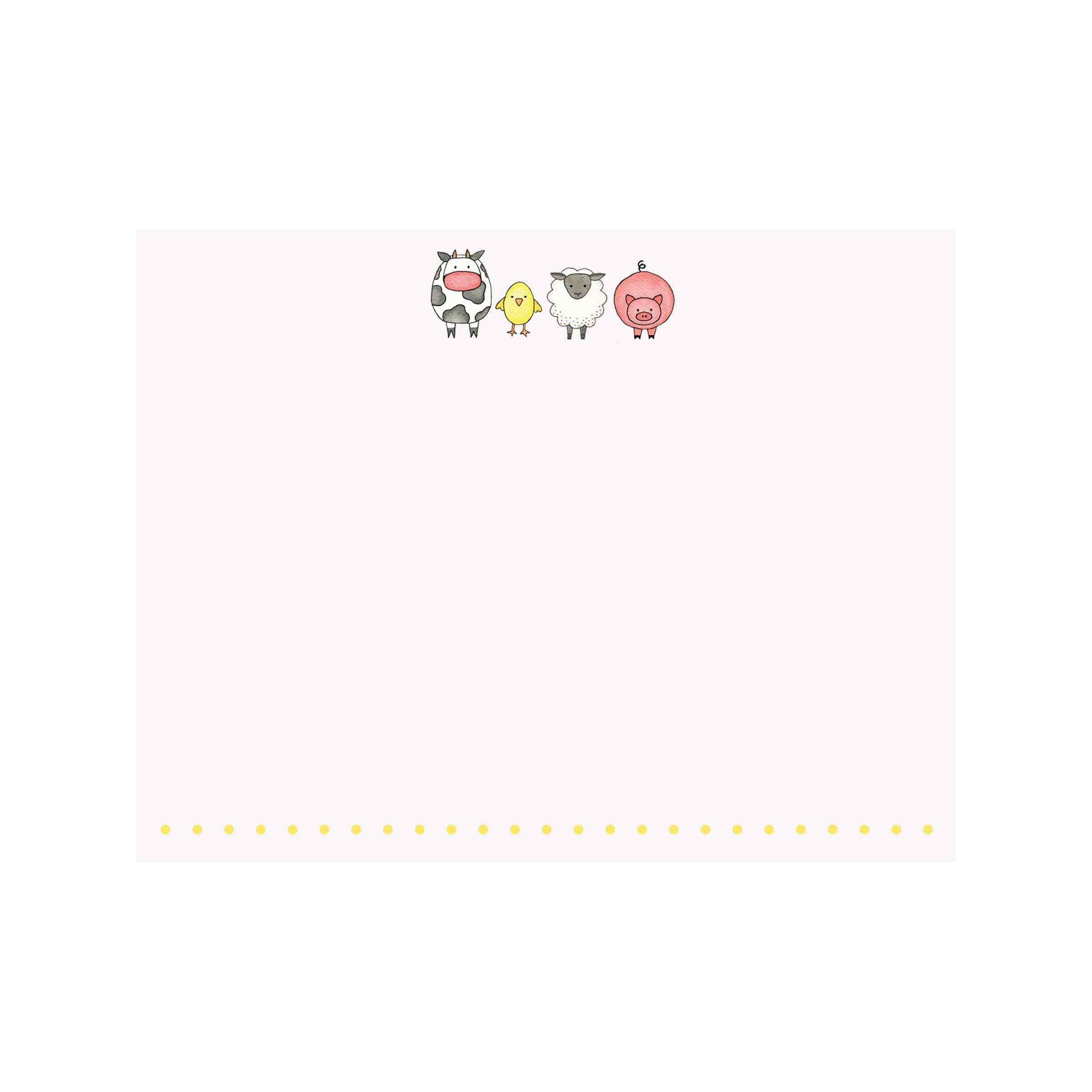Farm Animals Flat Note Card