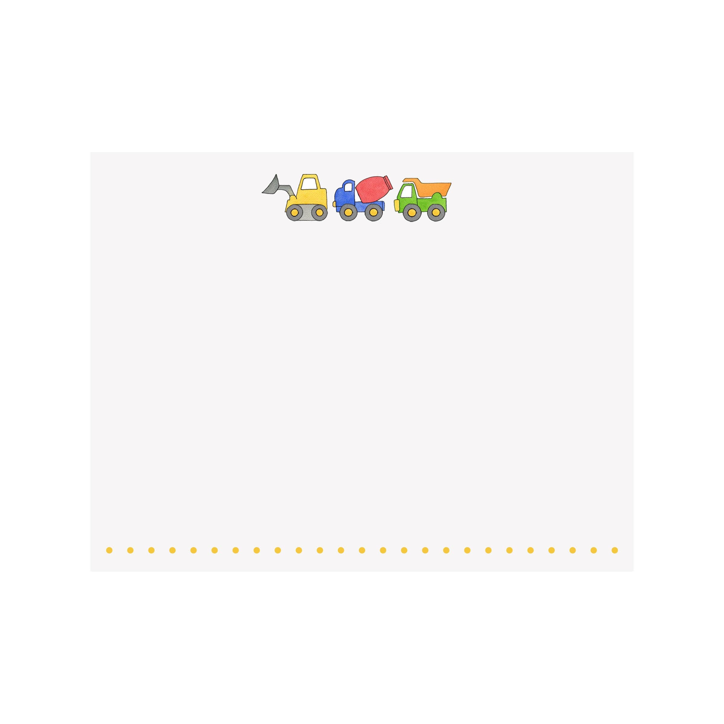 Construction Trucks Flat Note Card